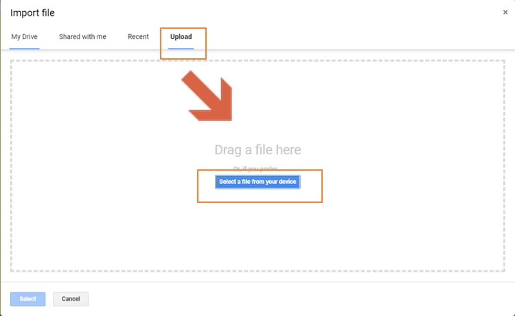select a file from your device