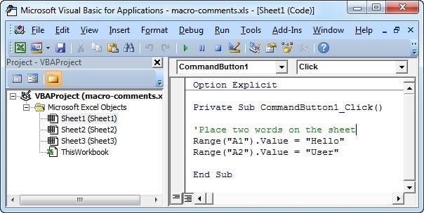 open vba code excel