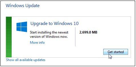 windows update get started