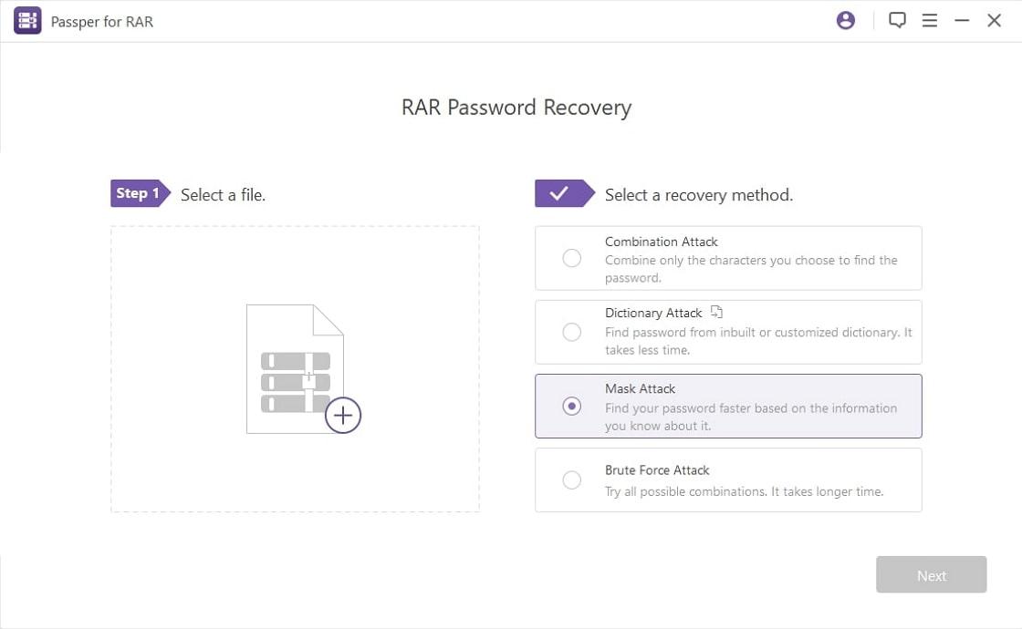 main screen of passper for rar