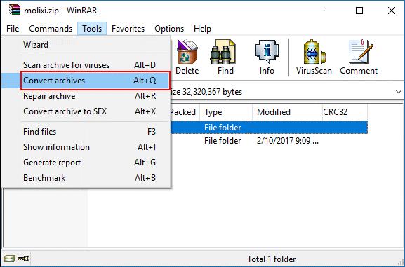 click convert archives