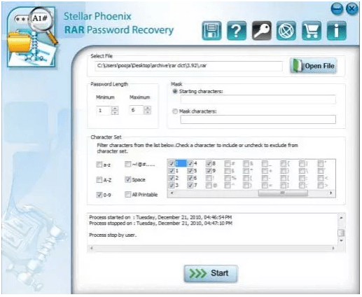 stellar phoenix rar password recovery