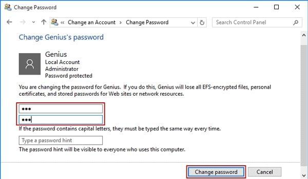 change password in control panel
