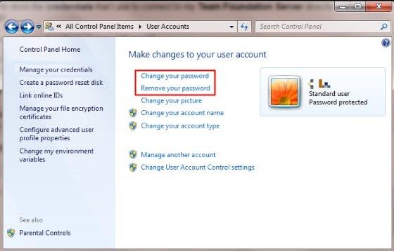 change or remove password