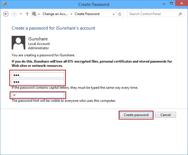 click on create password