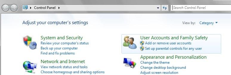 control panel user account 7