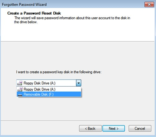 create a password key disk