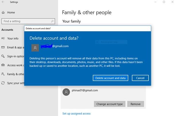 delete account and data