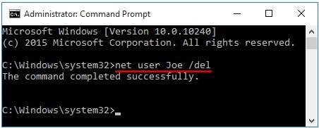 delete account command