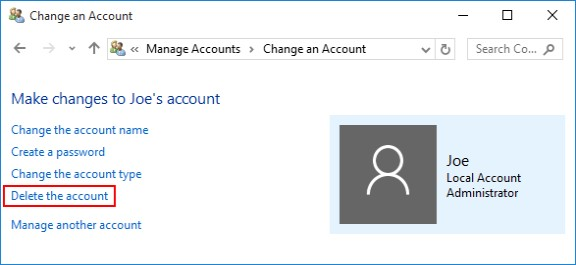 delete the account