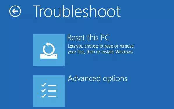 factory reset reset this pc