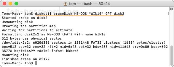 Use Terminal on Mac to create Windows 10 bootable USB