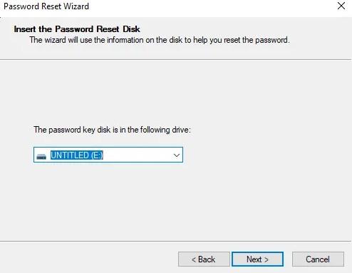 insert password reset disk forgot