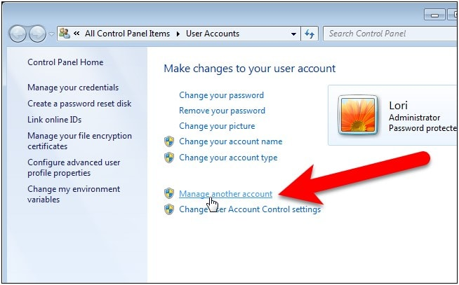 manage another account win7