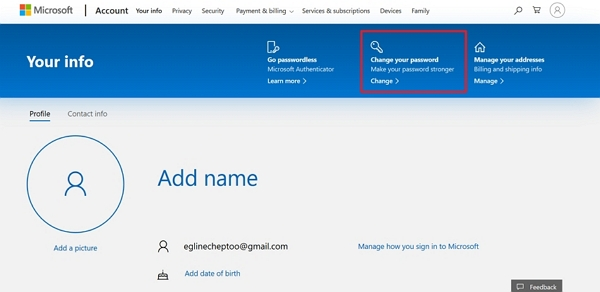 microsoft changed your password