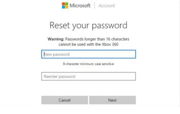microsoft reset password