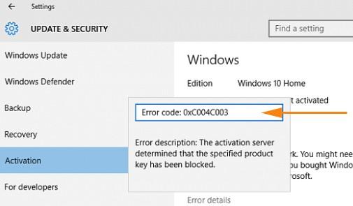 product key being blocker
