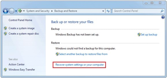 recover system settings or your computer