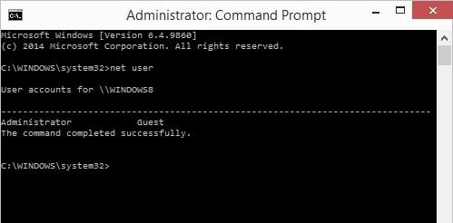 reset Windows password using command prompt