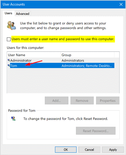 select user account