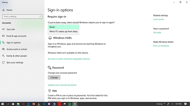 sign in option