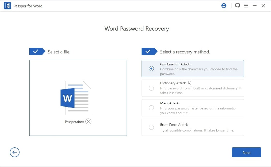 recover word passwords step2