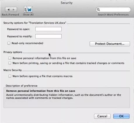 unlock word document mac