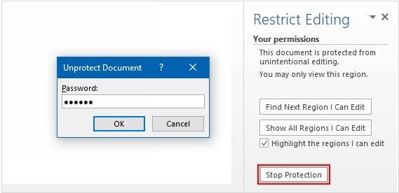 unprotect word document