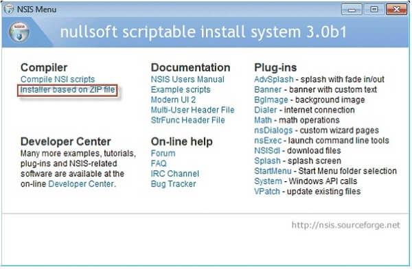 installer based zip file