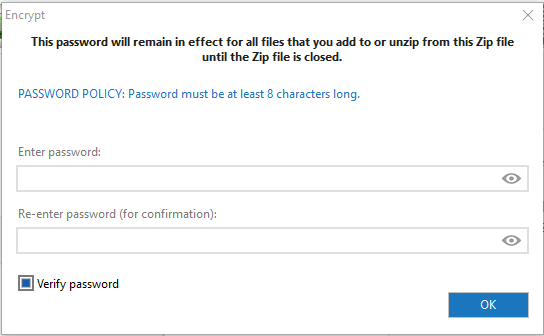 password protect zip file with winzip