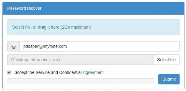 upload password protected zip file