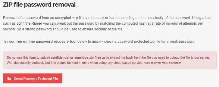 open zip file without password online