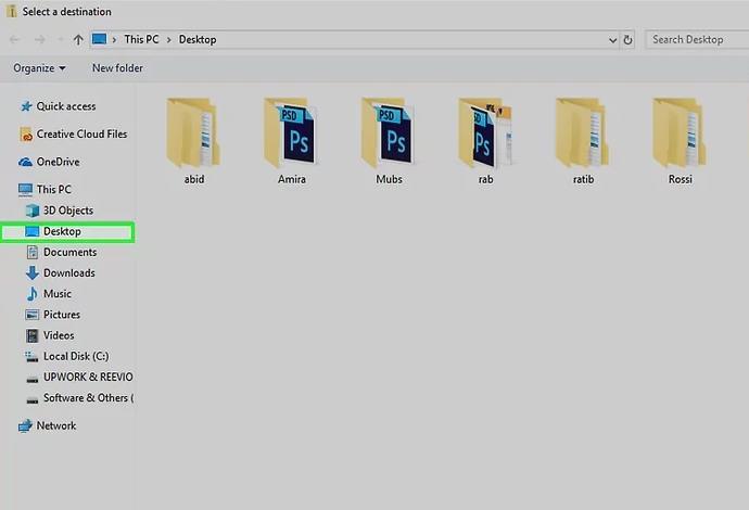 choose destination folder