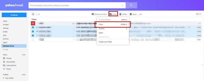 移動Yahoo郵件到收件夾