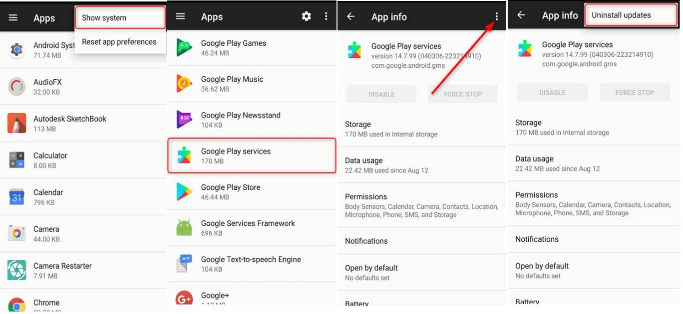 卸載Google Play服務更新