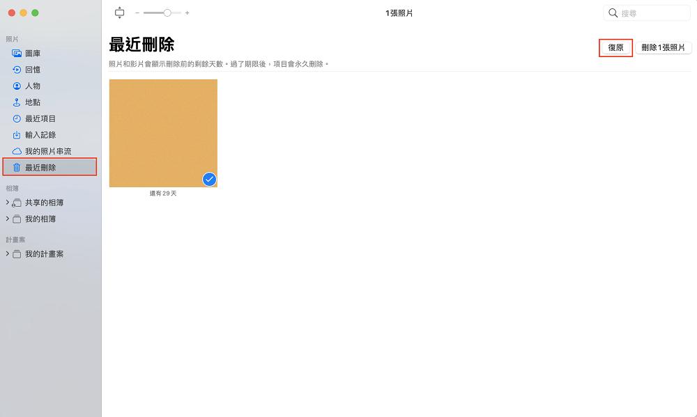 從最近刪除復原Mac刪除的圖片