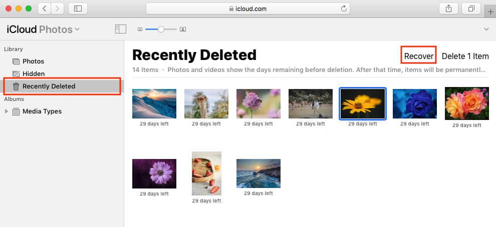 從iCloud復原刪除圖片