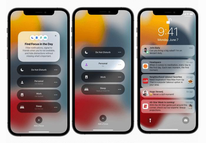 iOS 15專注模式與通知外觀更新