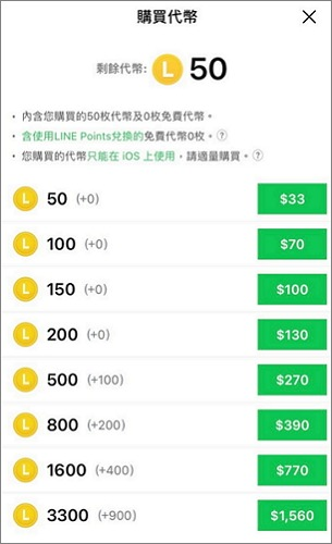 LINE貼圖代幣價格