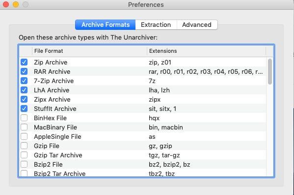 選擇解壓縮檔案類型