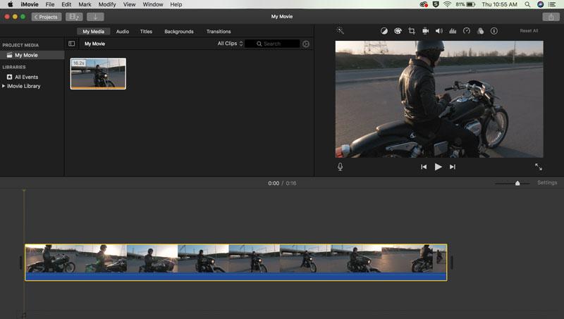iMovie影片置入時間軸