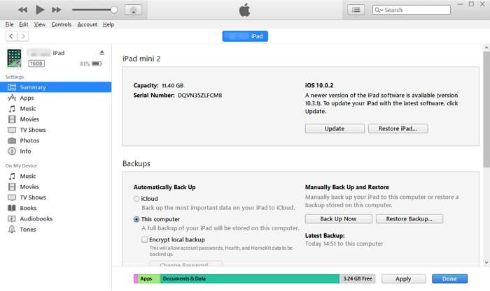 從iTunes備份還原iPhone手機訊息