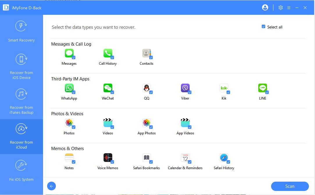 選擇iCloud備份中的通話記錄數據