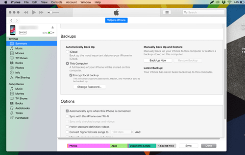 make a backup with itunes