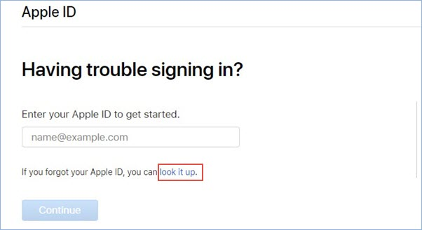 通過網頁尋找Apple ID
