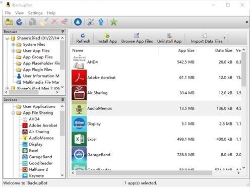 open backup files