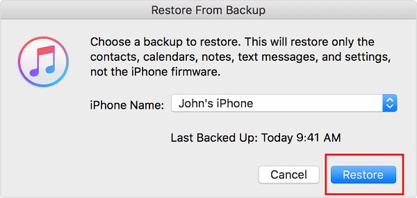 從iTunes恢復iPhone