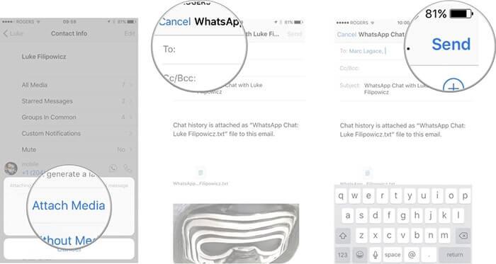 從iOS設備將WhatsApp會話發送到電子郵件