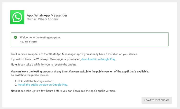 轉至 WhatsApp Beta