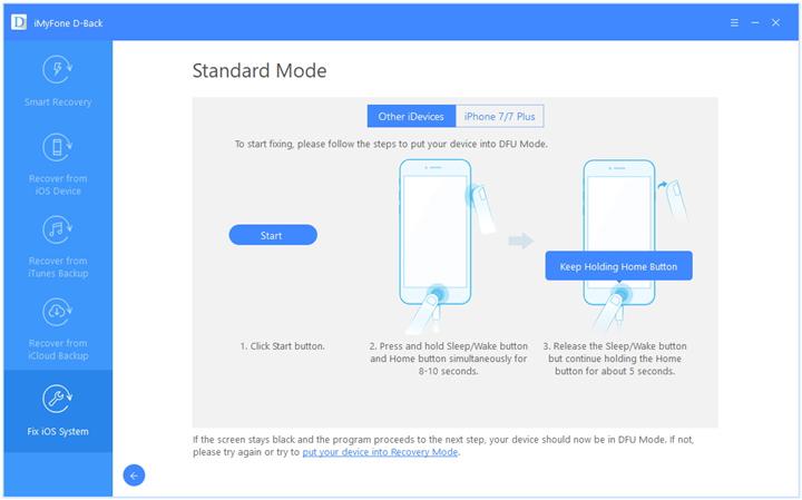 DFU mode under Standard mode